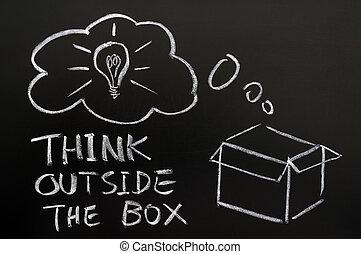 denken, buiten, de doos