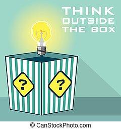 denken, buiten, doosje