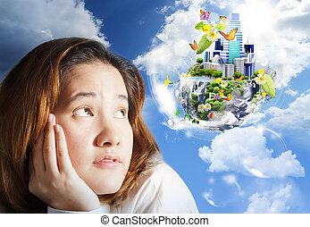 denken, businesswoman, groene aarde