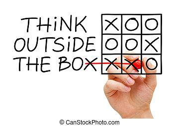 denken, draußen, kasten, tick-tac-zehe, begriff