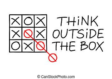 denken, draußen, kasten, tick-tac-zehe