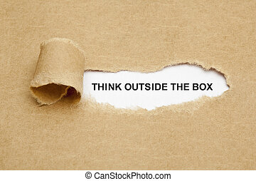 denken, draußen, kasten, zerrissenen papier