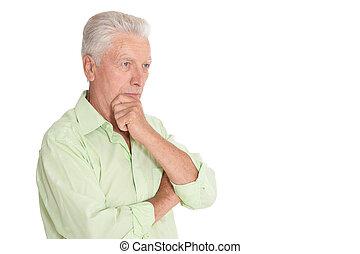 denken, freigestellt, hintergrund, älter, weißes, mann