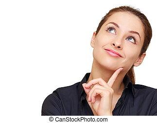 denken, gelukkige vrouw, kijkend, met, lege, de ruimte van...