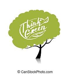 denken, green., boompje, concept, voor, jouw, ontwerp
