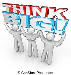 denken, groß, mannschaft, von, leute, aufzug, wörter,...