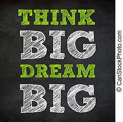 denken, groot, en, droom, groot, -, geschreven, concept