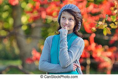 denken, herfst, meisje, achtergrond, natuur
