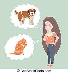 denken, hund, katz, choose., wen, m�dchen, oder