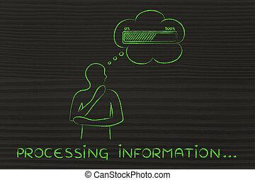 denken, informationen, verarbeitung, mann