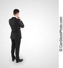 denken, jonge, achtergrond, kostuum, zakenman, witte