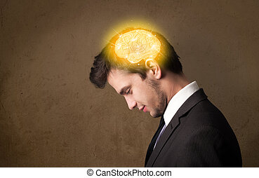 denken, jonge, illustratie, hersenen, gloeiend, man