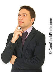 denken, jonge, zakenmens