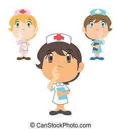 denken, krankenschwester, karikatur