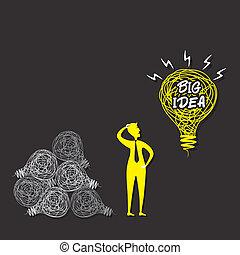 denken, mannen, vector, idee, groot, concept