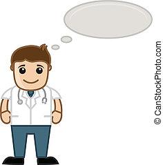 denken, medisch, -, spotprent, arts