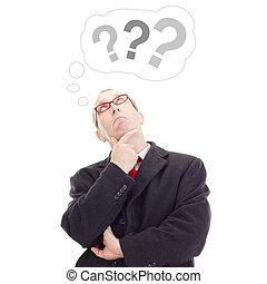 denken, persoon, over, vraag, zakelijk