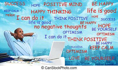 denken, positief, black , man.