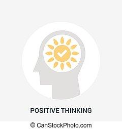 denken, positief, concept, pictogram