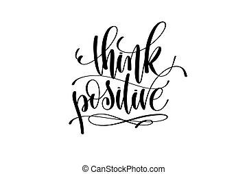 denken, positief, motivational, en, inspirational, noteren