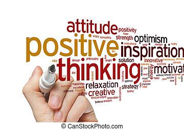 denken, positief, woord, wolk