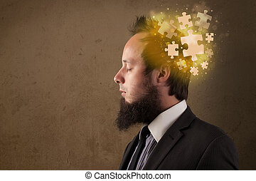 denken, raadsel, verstand, jonge persoon, gloeiend