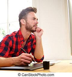 denken, schrijfstift, bureau, bemannen zitting
