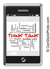 denken tank, wort, wolke, begriff, auf, touchscreen, telefon