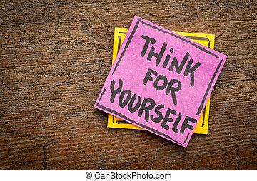 denken, voor, je, herinnering, of, raad