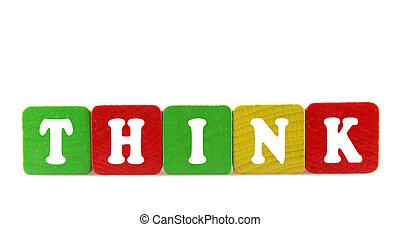 denken, -, vrijstaand, tekst, in, houten, bouwstenen