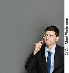 denken, zakenman, jonge, mooi