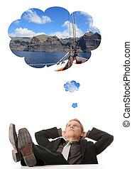 denken, zakenman, over, jonge, vakanties