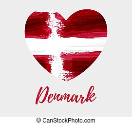 Denmark background with flag heart
