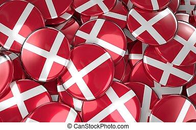 Denmark Badges Background - Pile of Danish Flag Buttons.