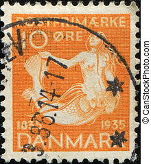 mermaid - DENMARK - CIRCA 1935: stamp printed in Denmark...