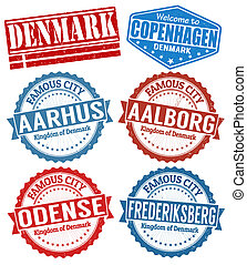 Denmark cities stamps