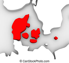 Denmark Country Abstract 3D Europe Map Scandinavia