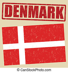 Denmark flag and stamp