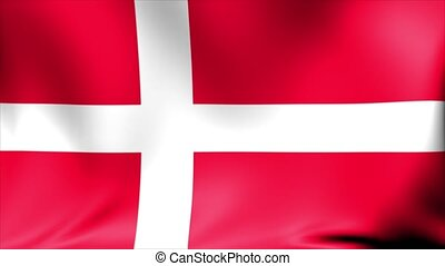 Denmark Flag. Background Seamless Looping Animation. 4K High Definition Video.