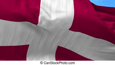 Denmark Flag Blowing in the Wind