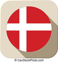 Denmark Flag Button Icon Modern