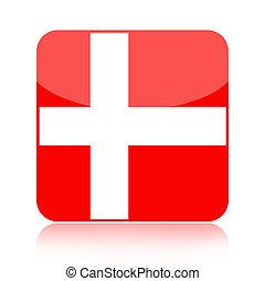 Denmark flag icon - Danish glossy icon isolated over white...