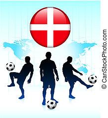 Denmark Flag Icon on Internet Button with Soccer Team