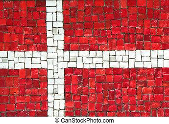 Denmark Flag in Mosaic