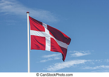 Denmark flag in red and white colors