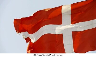 Denmark flag is fluttering in wind.