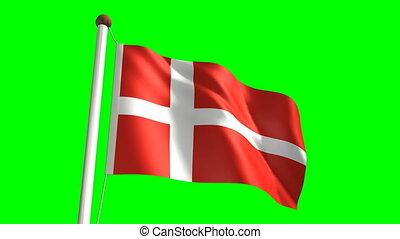 Denmark flag (Loop & green screen)