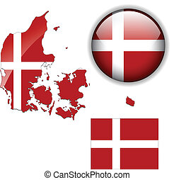Denmark flag, map and glossy button, vector illustration set...