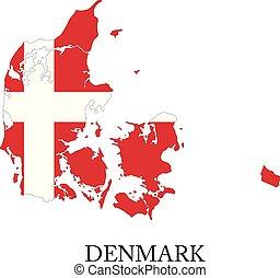 Denmark flag map