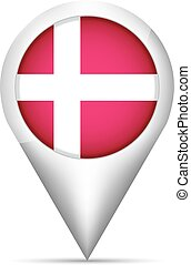 Denmark flag map pointer with shadow. Vector illustration